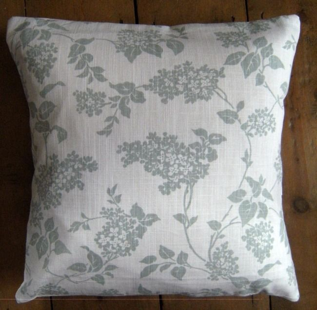 Cushion Cover Lilac Eau de Nil Floral Pattern Laura Ashley Fabric 16  x 16