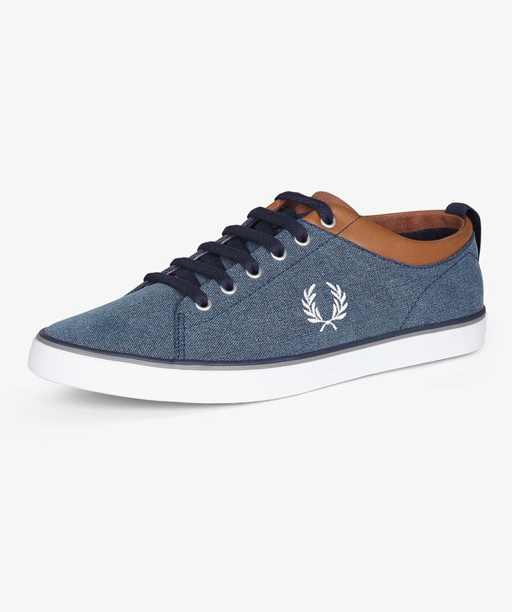 Fred Perry B5230 Hallam Printed Canvas Mens Shoe Carbon Blue UK Size 7 BNIB