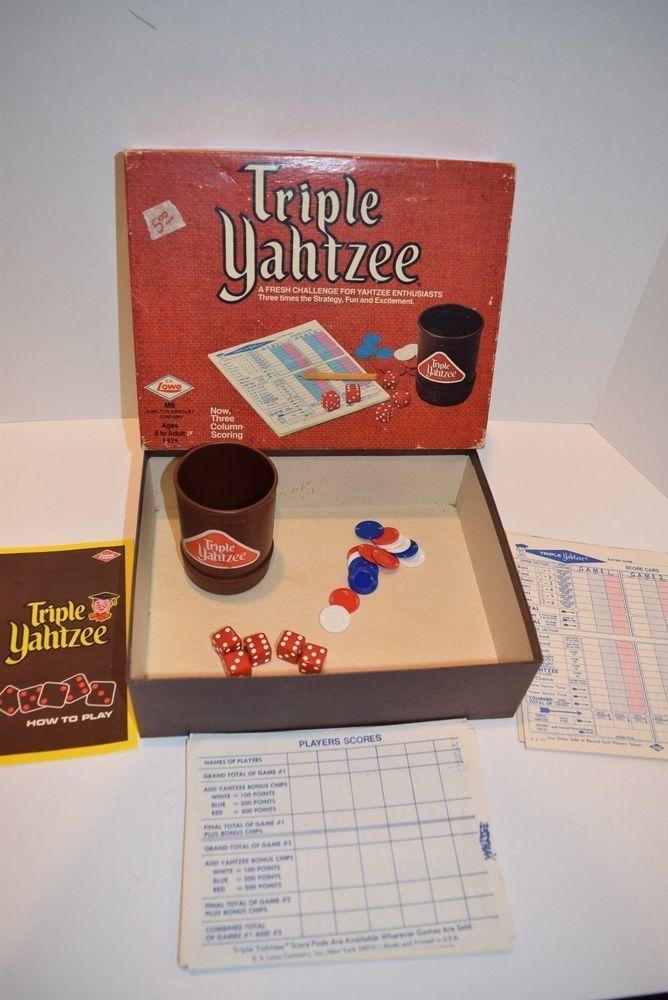 "VINTAGE 1973 E.S. Lowe ""Triple Yahtzee"" Game - Complete  #ESLowe"