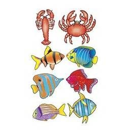Een set met acht tropische vissen ter decoratie op een tropisch feest. De decoraties hebben <br>gemiddeld een lengte van ongeveer 30-35cm.<br> themafeesten zee-en-strand