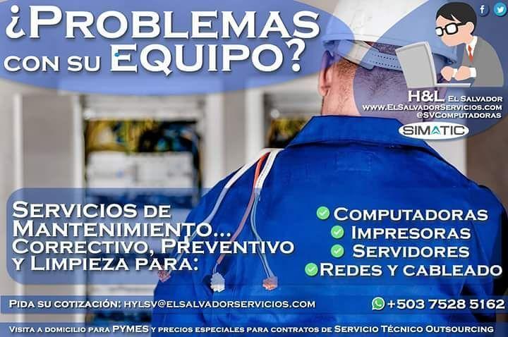 H&L El Salvador: Venta y #reparación de #computadoras Servicio #Técnico Outsourcing de #Mantenimiento para computadoras a domicilio para PYMES Problemas con su equipo? Servicios de Mantenimiento #Correctivo #Preventivo y #Limpieza para: Computadoras. #Impresoras. #Servidores. #Redes y cableado. Y más  Visita a domicilio para #PYMES y precios especiales para contratos de Servicio Técnico Outsourcing  Cotizaciones e información al correo: info@elsalvadorservicios.com WhatsApp: 503 7528 5162…