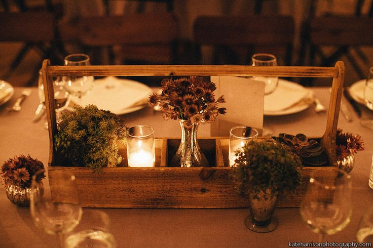 Centerpiece for rectangular table vintage crate with