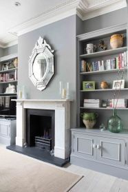 fire place and bookshelves