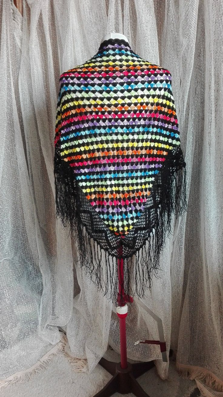 Large Triangle Rainbow Shawl,Boho, Gypsy, Hippie, Multicolor Wrap,  Crocheted Lace, with Fringe, Cotton Scrave, Summer Wrap, Evening Shawl by IMAGINARIUM2015 on Etsy