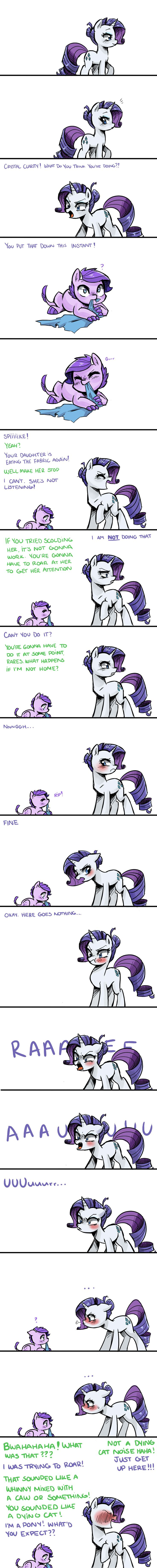 Roaring Rarity by kilala97.deviantart.com on @deviantART. Not a huge my little pony fan, I watched the series with my 8 year old sister though and I've got to say these adult rarity and spike comics by kilala are pretty cute.