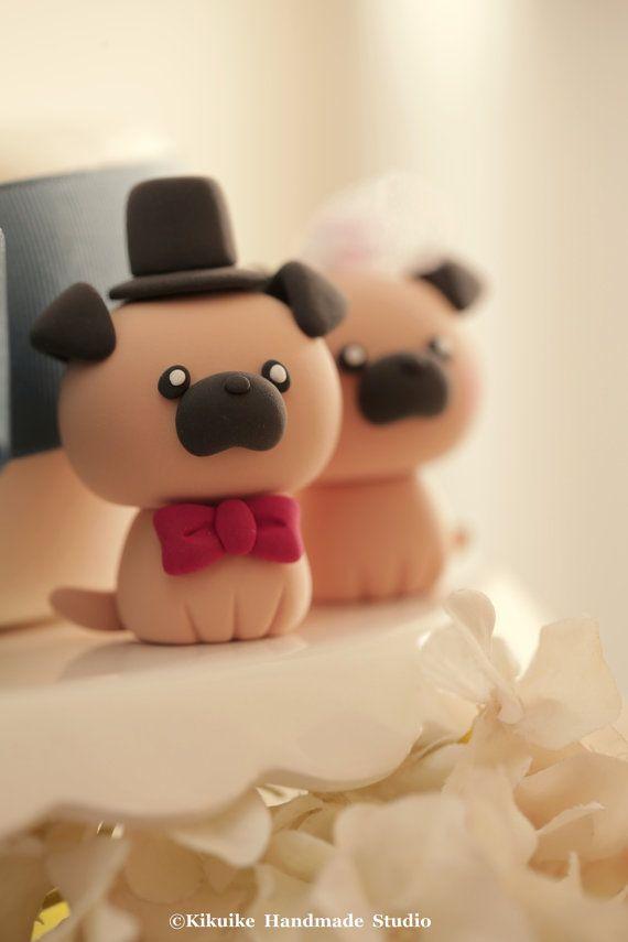 Topper de la torta de Pughecho a mano de pastel de por kikuike