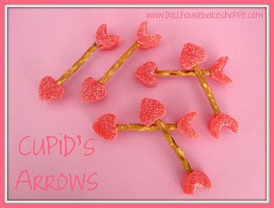 cupid arrows with pretzels and gum drops: Ideas, Cupid Arrows, For Kids, Food Crafts, Valentine'S S, Valentines Day Treats, Valentines Treats, Pretzels, Kids Food