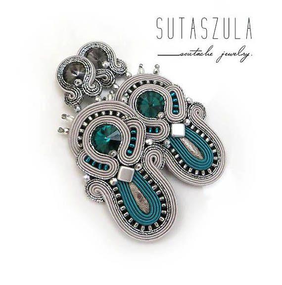 Long silver emerald clip on earrings  soutache earrings