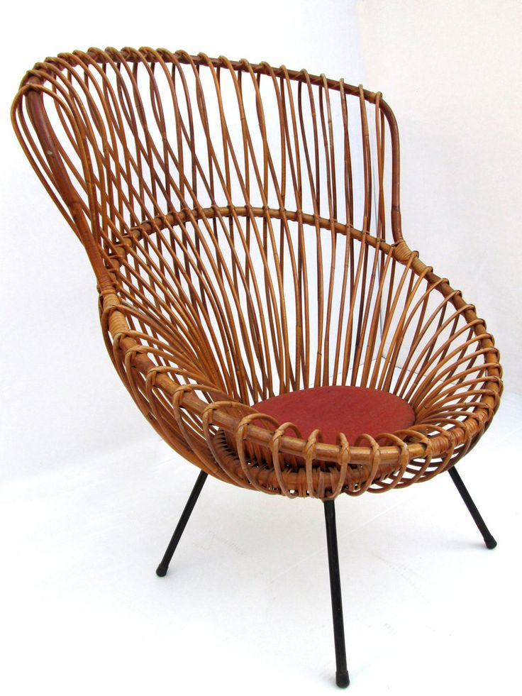 Bent Rattan and Painted Metal Margherita Chair | Franco Albini for Vittorio Bonacina | 1951