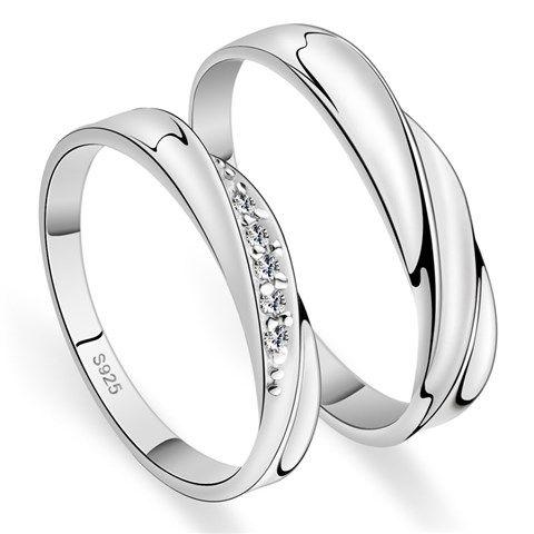 his hers matching couple cz sterling silver rings set yoyoon 8112 - Silver Wedding Ring