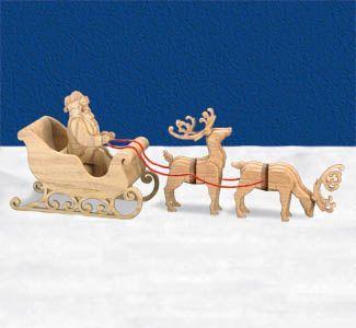 "3D Sleigh & Reindeer Scroll Saw Pattern- 9"" x 23"""