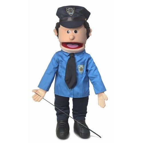 """Silly Puppets 25"""" Policeman Full Body Puppet SP2303      Size: 25 inch Policeman full body puppet                Your hand is inserted through the back of the puppet to move the mouth just like a ventriloquist.        Puppet comes with an arm rod to move the puppets' hands.        Available in either Peach or African            Teach your children about rules and law enforcement with this policeman full body puppet     $39.49"""