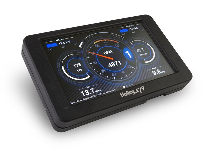 Find Holley EFI Digital Dash Gauges 553-106 and get Free Shipping on Orders Over $99 at Summit Racing!  These Holley EFI Digital Dash gauges are completely customizable, with a variety of gauge and indicator screens that can be programmed to display any parameter you need. They also offer a virtual switch panel, user-defined alarms, configurable shift lights, and can control on-screen playback of your EFI data logs. The Holley EFI Digital Dash gauges measure 7.5 in. wide, 4.625 in. tall…