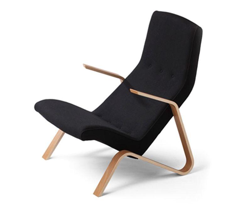 Eero Saarinen Grasshopper-tuoli, tammi runko ja väri 190 Hallingdal-kangas
