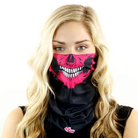 pink skull motorcycle face mask bandana front HRB16