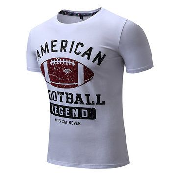 S-2XL Casual Cotton Letter Printing T-shirt Men's Round Collar Short Sleeve Tops Tees at Banggood