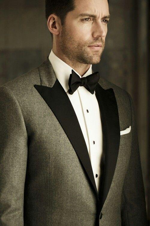 Grey tuxedo jacket with black lapels