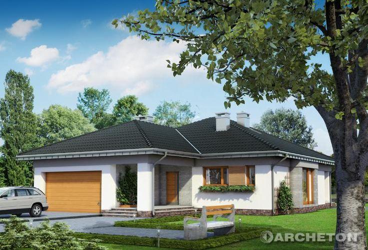 Projekt domu Koniczynka G2 - dom parterowy na rzucie w kształcie litery L, pokryty dachem wielospadowym, z dużym garażem