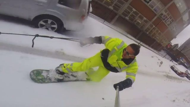 Snowboarding The Streets Of New York City