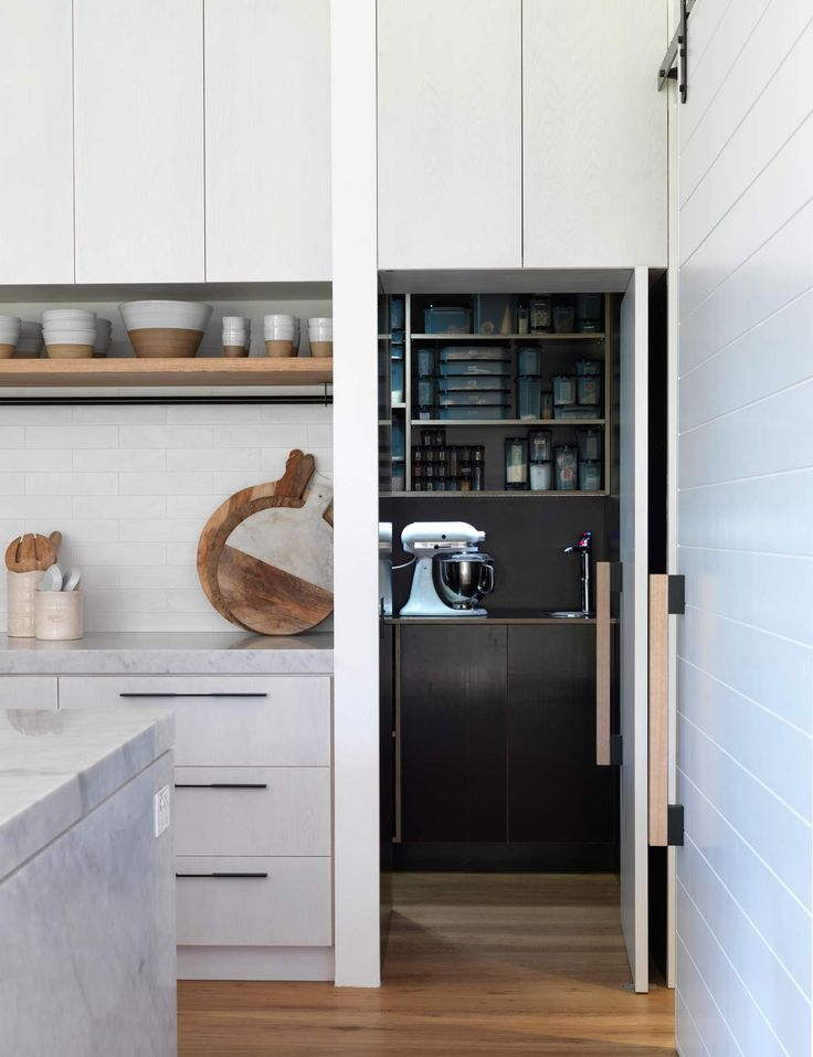 Bondi Barn kitchen interior featuring Designer Doorware timber sliding door handles and cabinet blade pulls. #projects #hardware #design