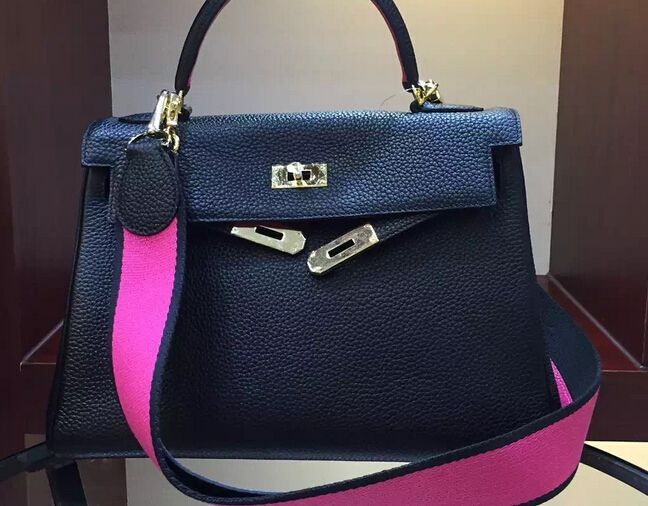 New Hermes Kelly 32cm Togo Leather with Amazon Strap 2016 black/fushia