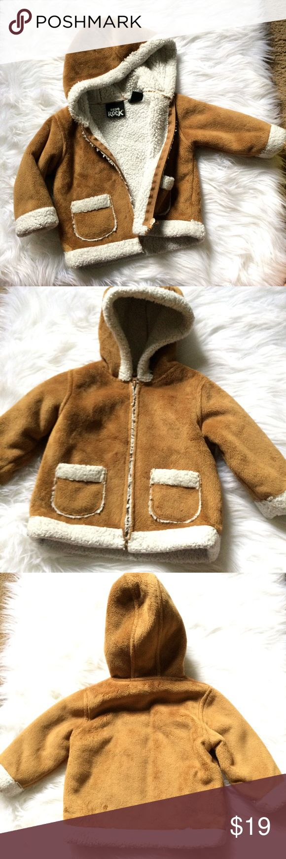 Brown Faux Sherpa Lined Hoodie Jacket 18mo Soft Brown Faux Sherpa Lined Hoodie Jacket 18months. In excellent pre-owned condition!  🙈Bundle your likes to receive a special discount! 🙉Bundle with @designhive (women's) 🙊Offers Welcome! boys rock Jackets & Coats