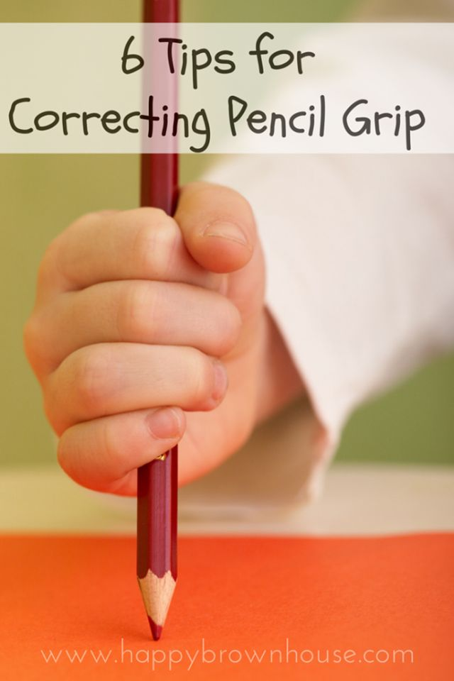 Is your child struggling to hold a pencil correctly? These tips are great! The pom pom one is genius!  SEE THEM ALL HERE: http://happybrownhouse.com/6-tips-for-correcting-pencil-grip/