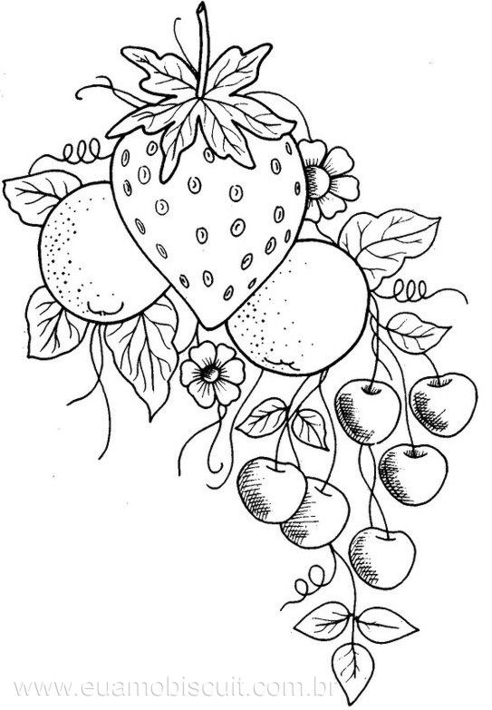 fruit embroidery strawberry cherries