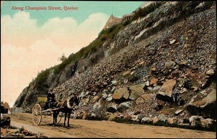 Boul. Champlain, à Québec et les voitures à cheval. Cent ans plus tard. Du travail a été fait avant nous. // Along Champlain Street, Quebec 1903-1918.