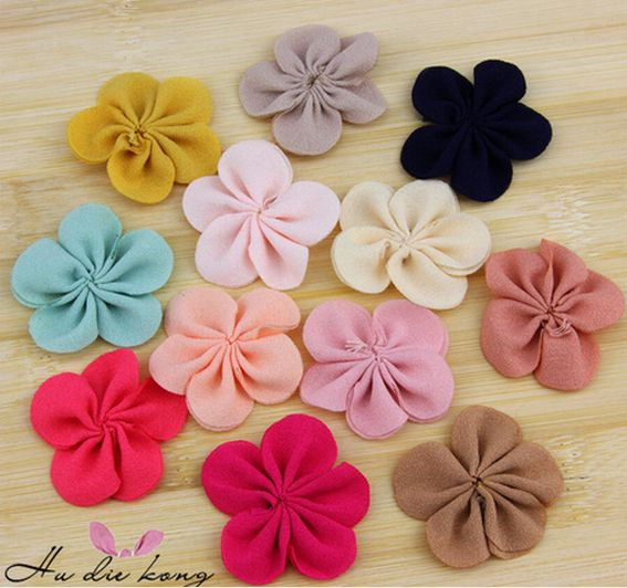 20pcs DIY handmade jewelry accessories material 4CM candy colored chiffon ribbon flowers fabric flower hair accessories A171
