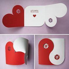 Valentinskarte Basteln rot weiß-Ideen Geschenke-Deko