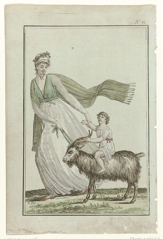 A most strange print!! Tableau Général du Goût,  An 1, No. 10  (21 nov. 1798): Jeune élégante jouant avec son enfant ....., Gide, 1798
