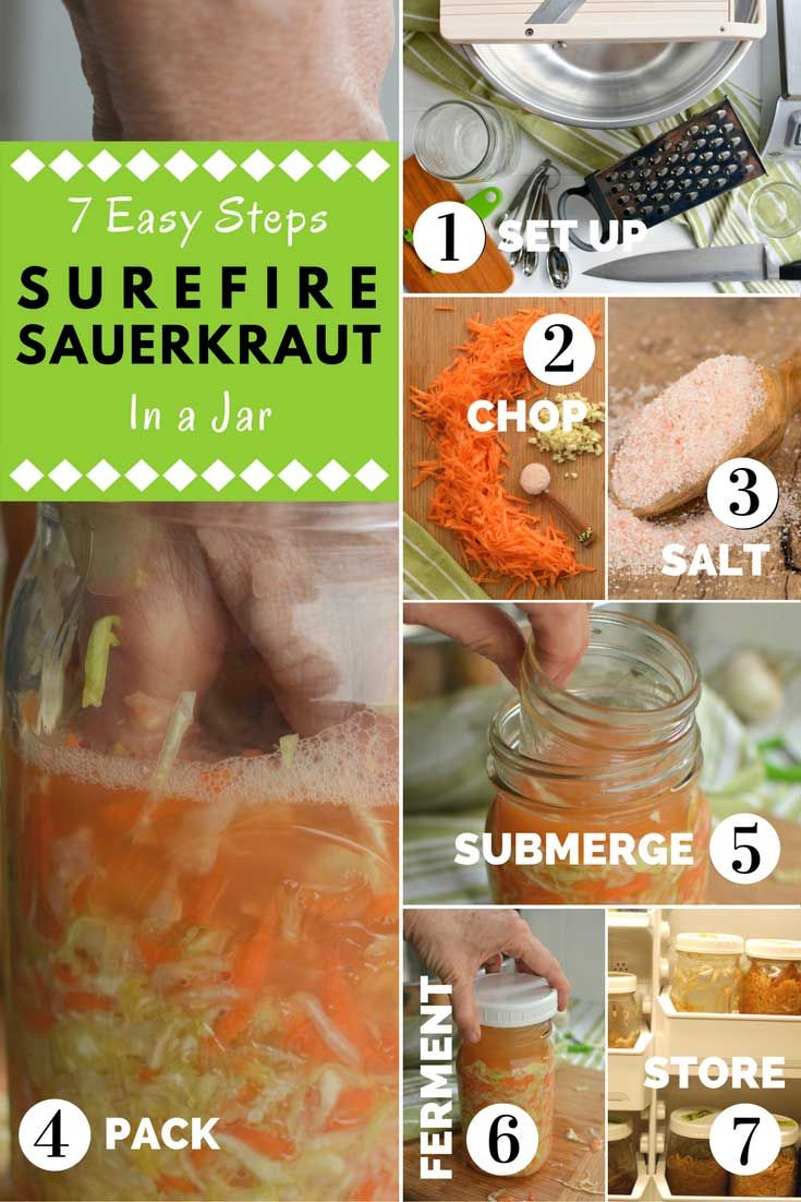 Make your own delicious sauerkraut. Super-simple to make. Learn to make a small batch in a 1-quart jar. Many tips and photos ensure success.