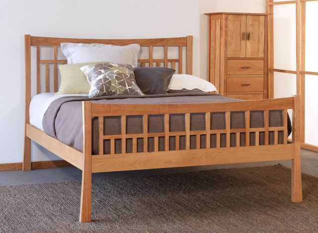 Contemporary Craftsman High Footboard Bed.  Wood choices include maple, walnut, or cherry. The set is handmade in Vermont using sustainably harvested woods.
