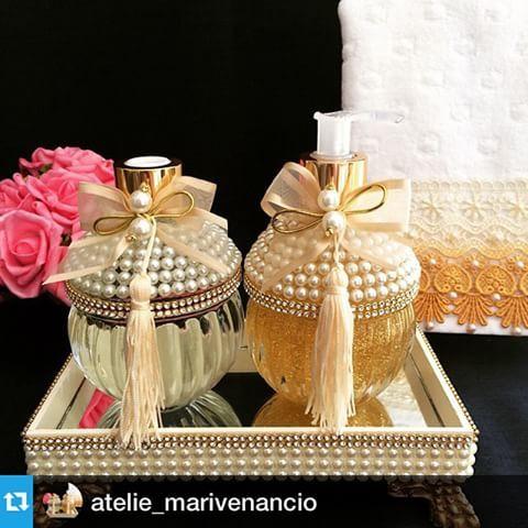 #Repost @atelie_marivenancio with @repostapp.・・・Kit bojudo.#difusor #difusordevaretas #sabonete #glitter #handsoap #pérolas #laço #lavabo #bandeja #toalha #toalhabordada #luxo #casamento