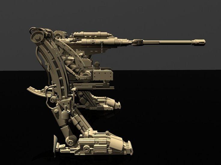 military robot artillery 3d model