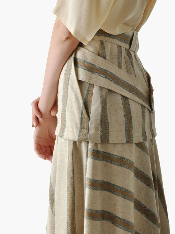 Vintage Striped Biba Mode de Paris Skirt by maevenvintage on Etsy, $125.00