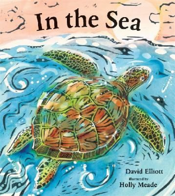 In the Sea  (Book) : Elliott, David : A New York Times best-selling author and a Caldecott Honor-winning illustrator explore life in the ocean with clever poems and bold, expressive woodcuts.   The briny deep is home to an enormous variety of fascinating creatures, from the dainty sea horse to the fearsome shark, from the spiny sea urchin to the majestic blue whale. In striking woodcut illustrations, diverse creatures glide through blue and green waters, while succinct, witty poetry examines…