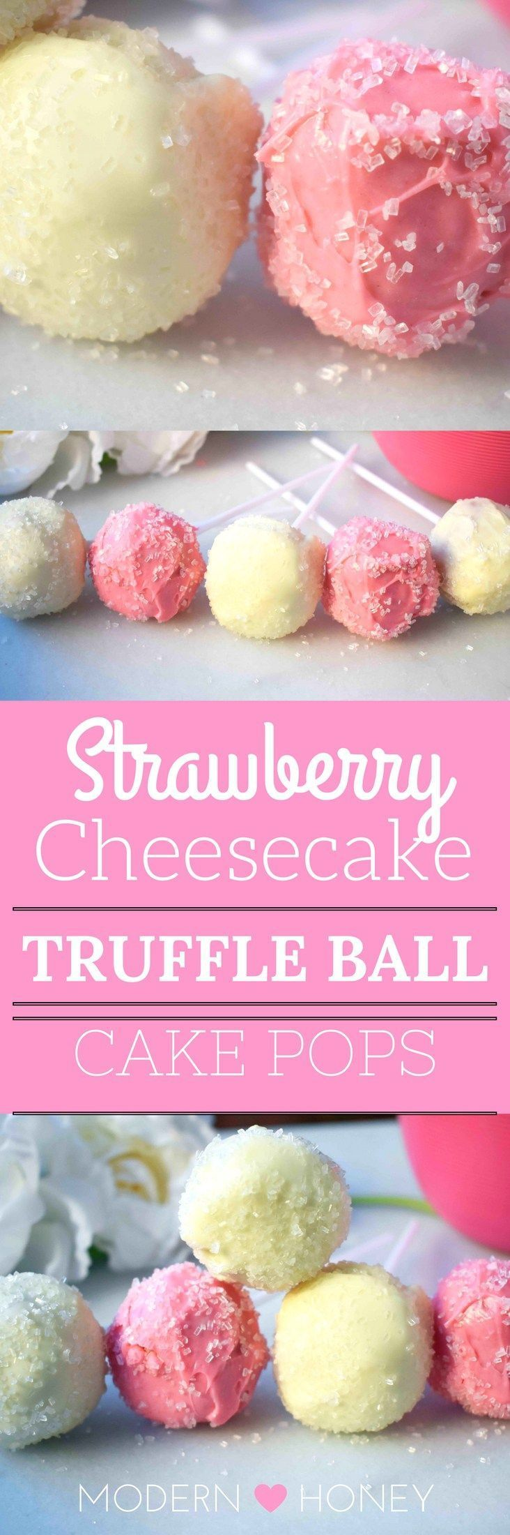 Strawberry Cheesecake Truffle Balls Cake Pops. Homemade yellow butter cake mixed with fresh strawberry cream cheese frosting. Then rolled in melted white melting wafers and sprinkled with sparkling sugar. http://www.modernhoney.com