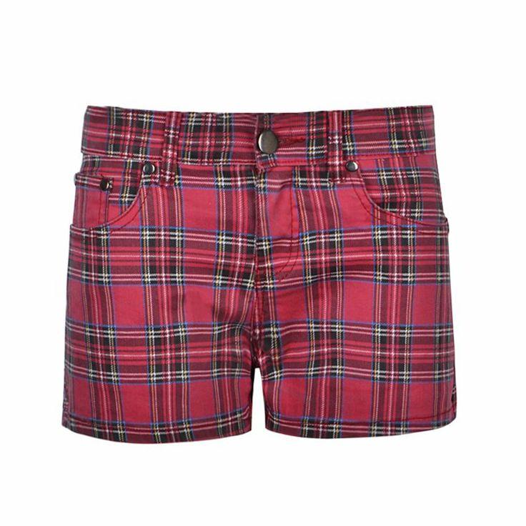Denim shorts featuring all over check. Minicut length fetauring a