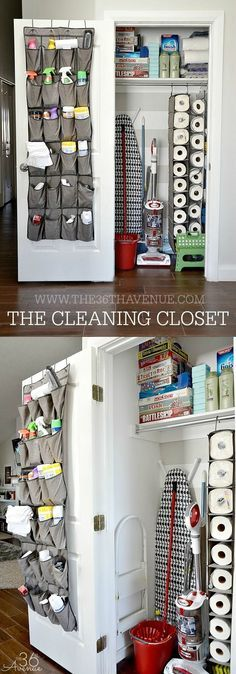 The first thing I did was purchase a few closet organization gadgets. These are normally for shoes but I used them to store the cleaning products we use most. If you are thinking about doing something like this make sure to put your money in strong ones since you are going to be adding a good amount of weight to them.n As you can see this is not a huge space BUT we have room for cleaning supplies, hygiene supplies, our ironing board, vacuum, mop, broom, and more… So awesome!