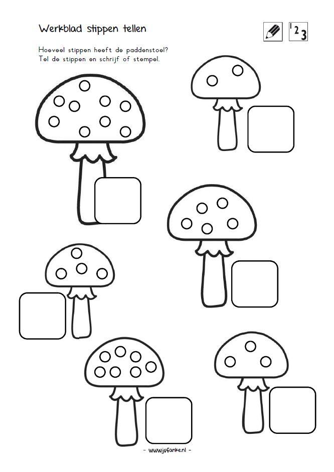 stippen tellen hoeveel stippen heeft de paddenstoel