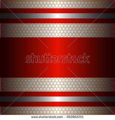 Shiny red metal with silver background.Two glossy silver lines.Gold plate with hexagon holes style design .