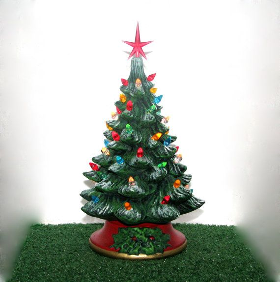 Small Ceramic Christmas Tree   10 Inches With Base Hand Made Pine Tree With  Light