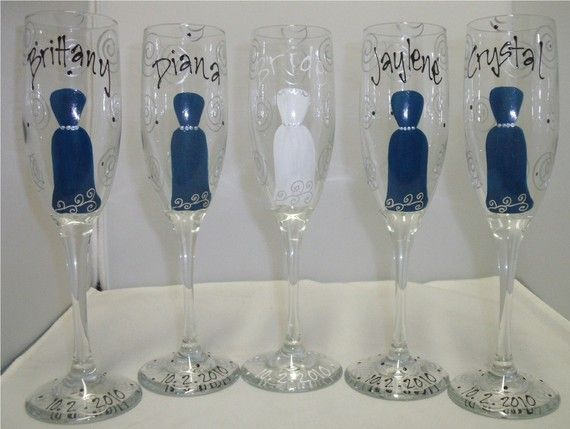 Personalized champagne flutes for the bridal party.  Love this for getting ready!