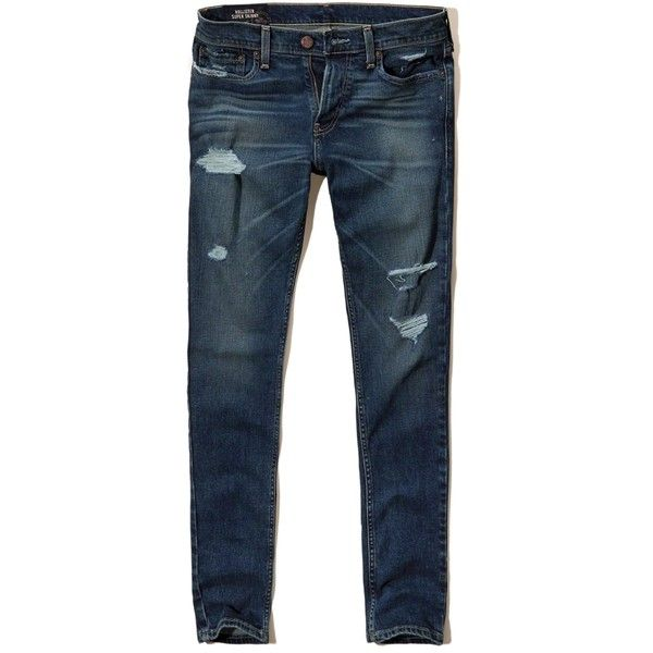Hollister Super Skinny Jeans (90 ILS) ❤ liked on Polyvore featuring men's fashion, men's clothing, men's jeans, pants, men, ripped dark wash, mens ripped jeans, mens distressed denim jeans, mens destroyed jeans and mens stretchy jeans