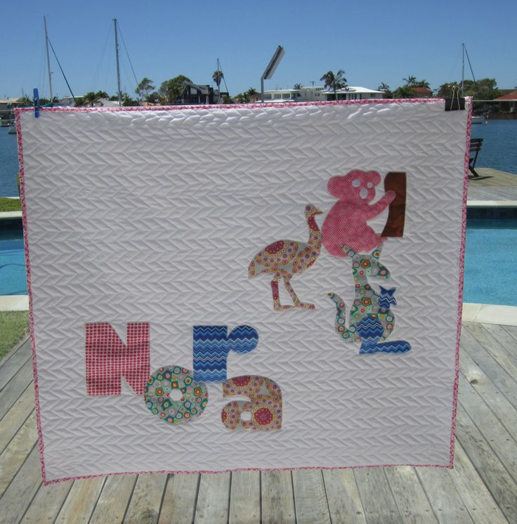 Nora's quilts with Australian animals is off to New York State . Her dad is an Aussie!
