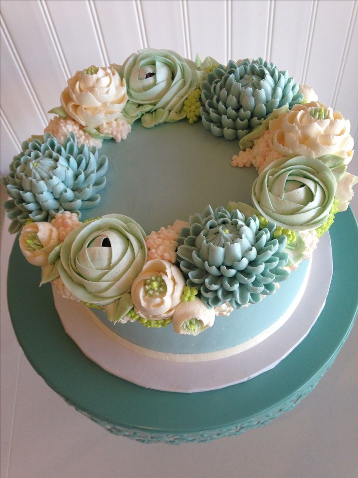 16 best our favorite white flower buttercream cakes images on soft ice blue floral cake mightylinksfo