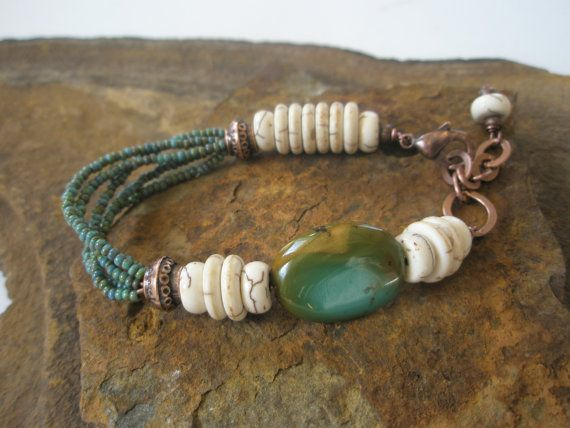 Gemstone Bracelet, Turquoise and Copper Bracelet