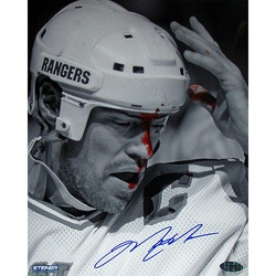 SOLD - Mark Messier B Blood Vertical 8x10 Photo/New York Rangers Unsigned White Replica Jersey